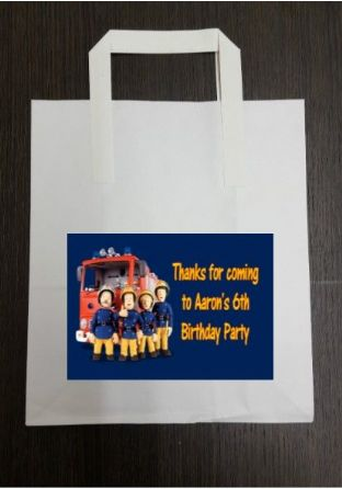 4 x Fireman Sam Birthday Party Bags with Personalised Sticker